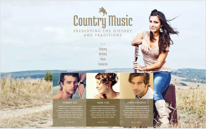Country Music Fan Club Website Template