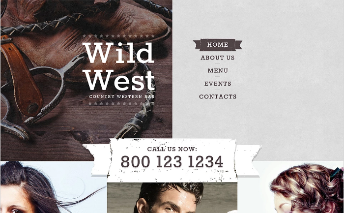 Country Western Bar Website Template