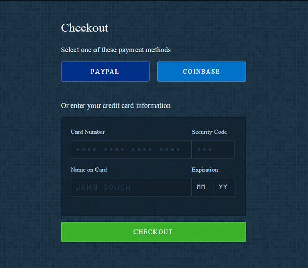 Free HTML CSS3 Checkout Forms