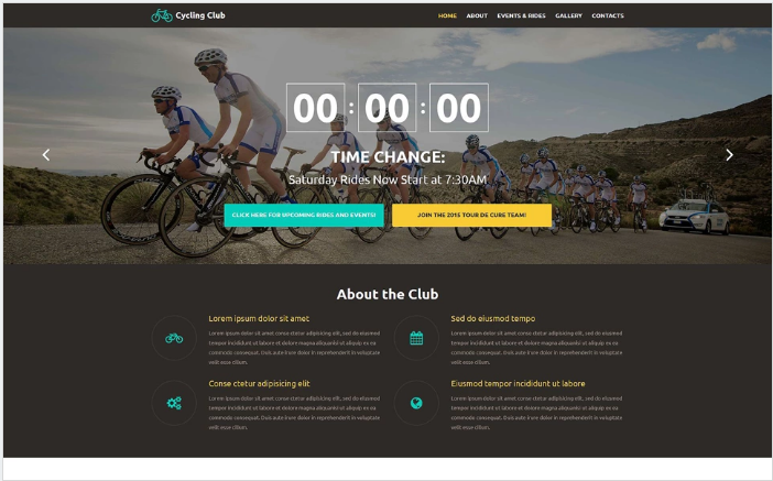 Cycling Club Website Template