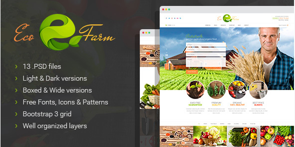 Eco Farm - Organic Food & Eco Farm PSD Template