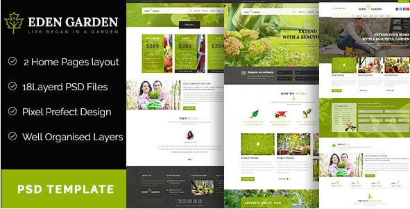 Eden Garden - Gardening and Landscaping PSD Template