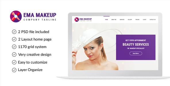 Ema Makeup - One Page Beauty Salon Makeup PSD Template
