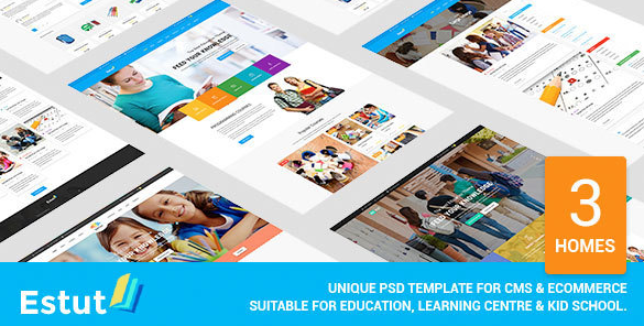 Estut - Material Design Education, Learning Centre & Kid School PSD Template