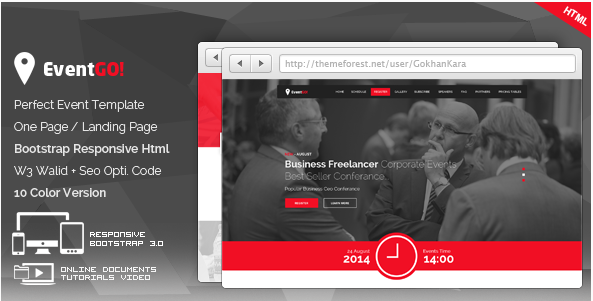 EventGo - Html Onepage Events Landing Page