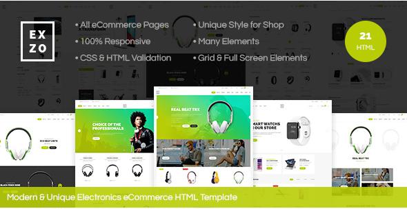 Exzo - Modern & Unique Electronics eCommerce HTML Template