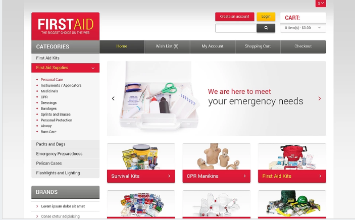 First Aid Store OpenCart Template