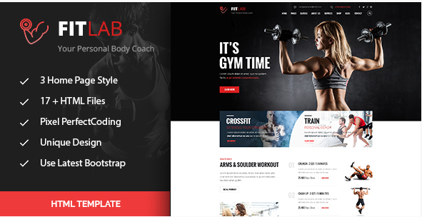 FitLab Sports, Health, Gym & Fitness HTML Template