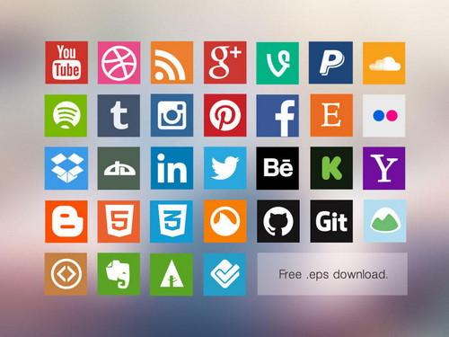 Flat Social Media Icon Vector Pack