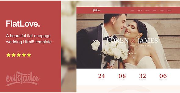 FlatLove - Flat Onepage Wedding Html Template