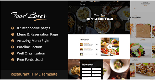 Food Lover Restaurant HTML Template