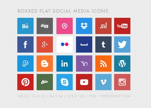 Free Boxed Social Media Icons with Flat Design