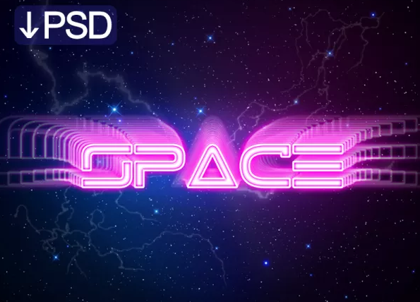 Free Dribbble Space Text Effect