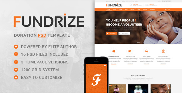 Fundrize - Donation Charity PSD Template