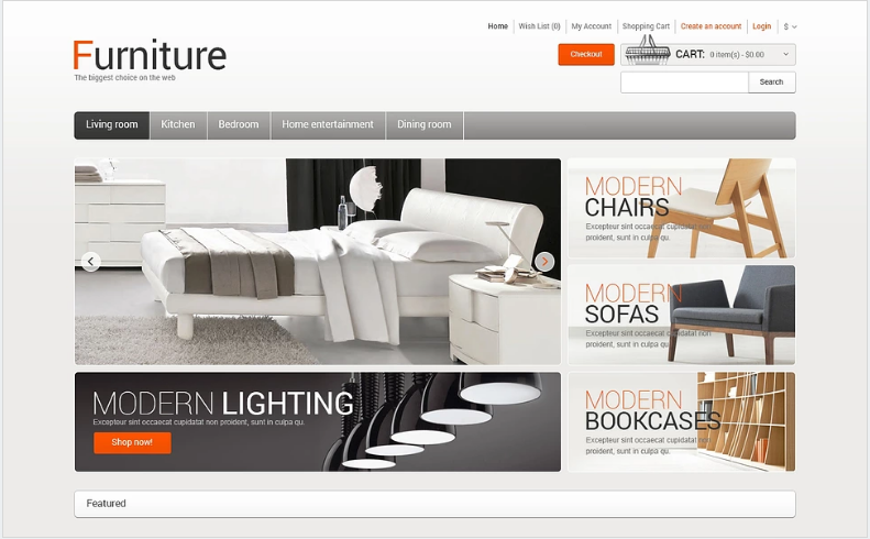 Furniture for Comfort OpenCart Template