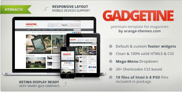 Gadgetine - Responsive News and Magazine HTML