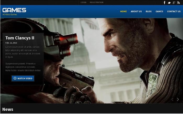 Games Responsive Website Template Gaming HTML Website Templates