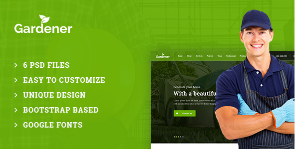 Gardener – Gardening and Landscaping PSD Template