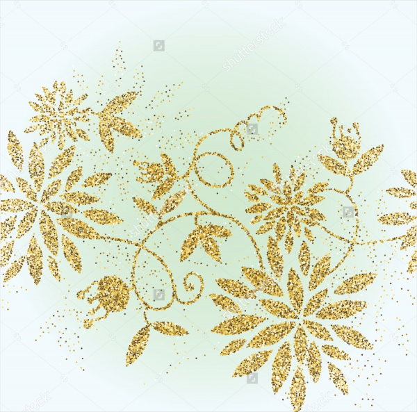 Golden-Glitter-Flower-Background