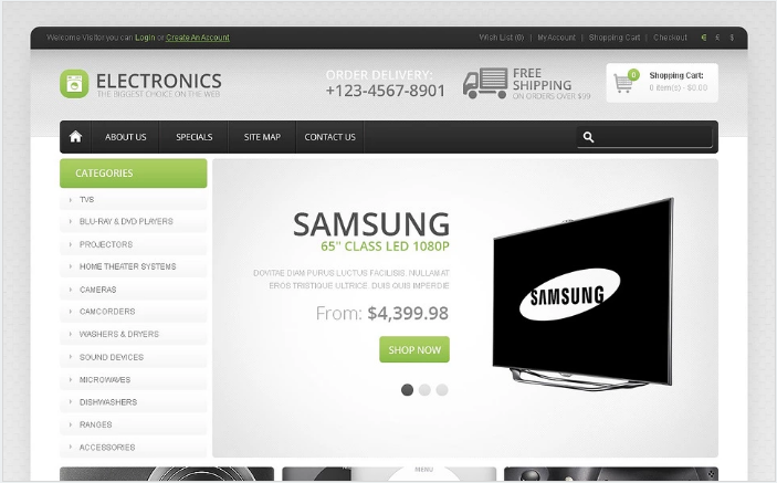 Great Choice of Electronics OpenCart Template