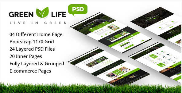 GreenLife - Gardening and Landscaping PSD Template