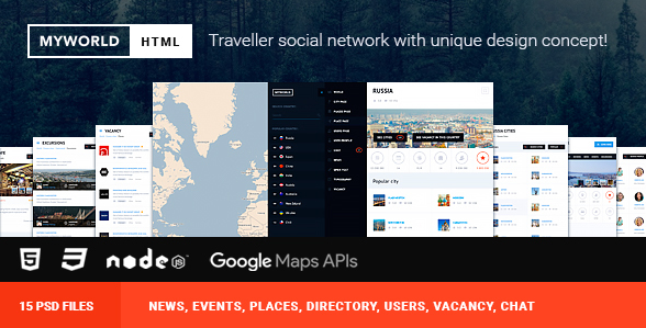 HTML & PSD Directory, geolocation template for traveller