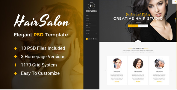 Hair Salon - Elegant PSD Template