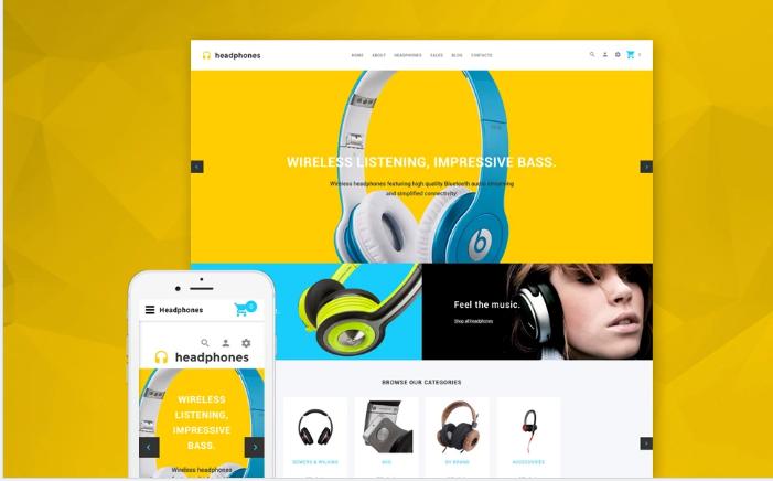 Headphones - Responsive Audio store OpenCart template + RTL