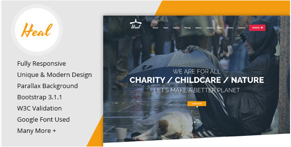 Heal - One Page Charity HTML Template