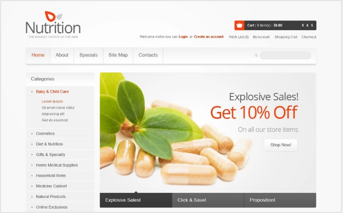 Healthy Nutrition OpenCart Template