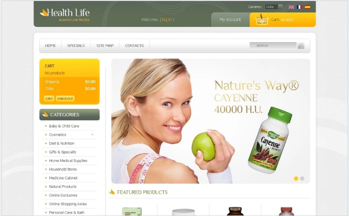 Helth Life Products PrestaShop Theme