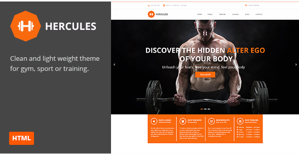 Hercules Gym Fitness HTML Theme