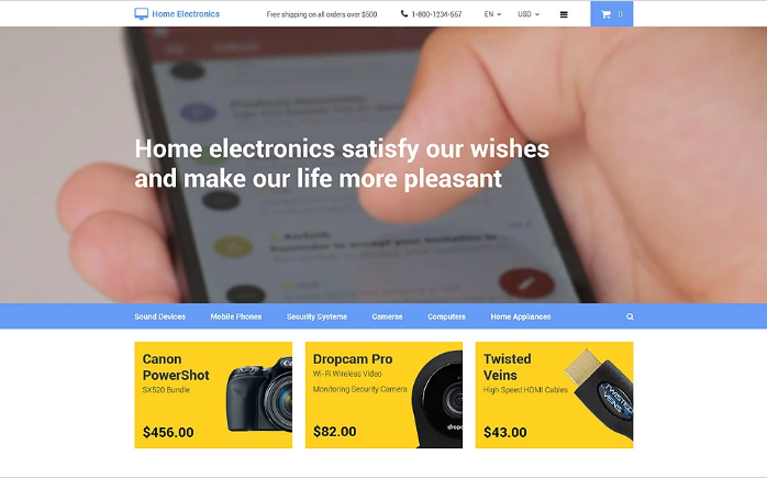 Home Electronics OpenCart Template