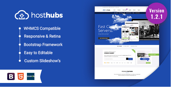 HostHubs Responsive WHMCS Web Hosting, Domain, Technology Site Template