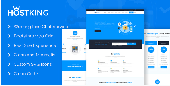 HostKing - Responsive Web Hosting Domain Technology Site Template