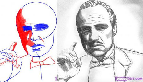 How to draw Marlon Brando step by step