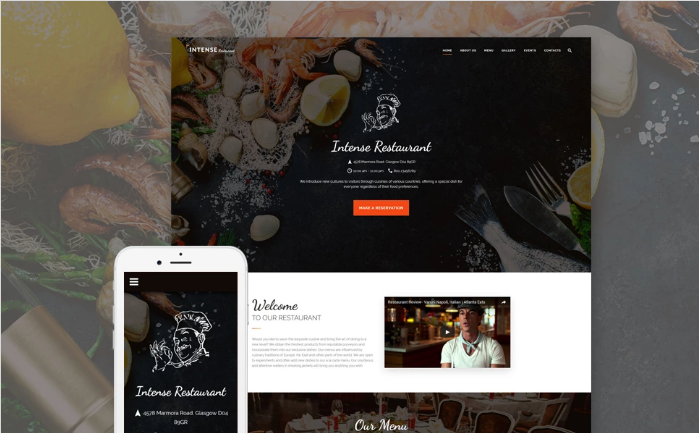 INTENSE Restaurant Website Template