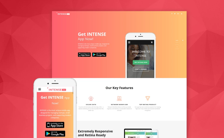 Intense App Landing Page Template