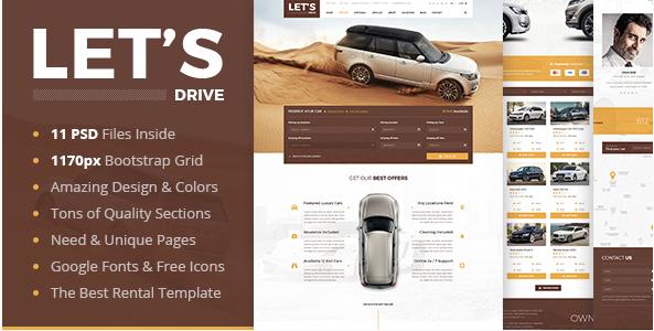 Let's Drive - Amazing Car Rental & Sale PSD Template