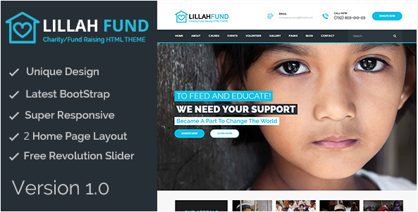 Lillah Fund Charity and help HTML5 template