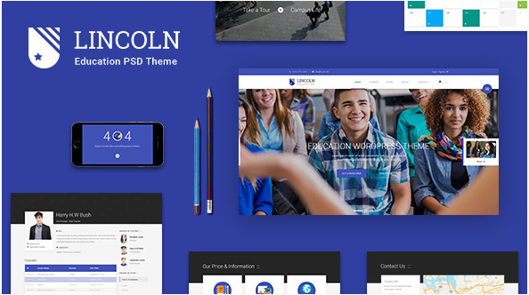 Lincoln Educational Material Design PSD Theme