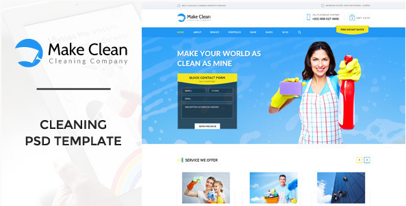Make Clean - Cleaning Company PSD Template