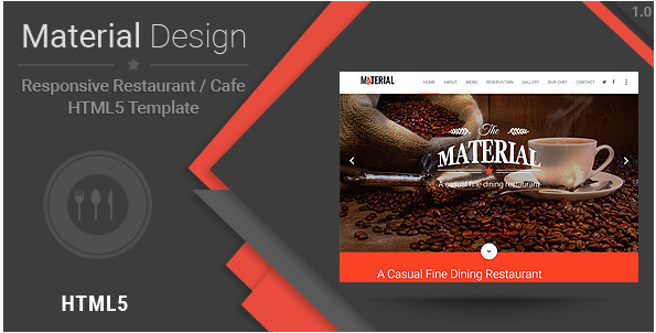 Material-Responsive Restaurant Cafe HTML Template