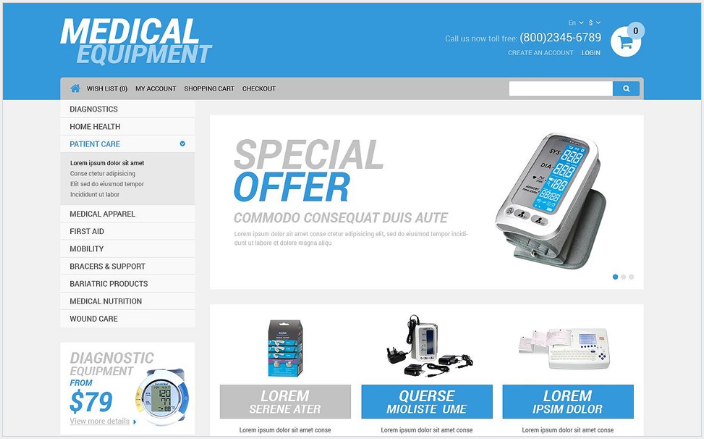 Medical Equipment Store OpenCart Template