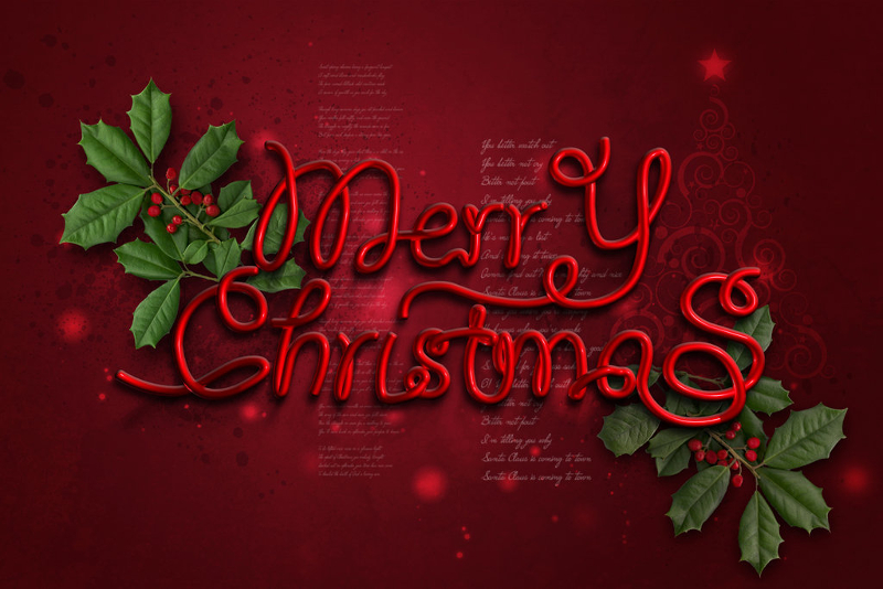 Merry-Christmas-with-Red-Background