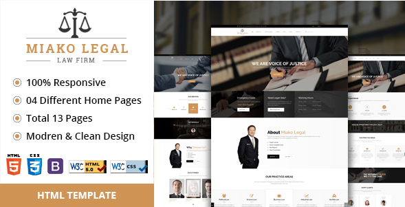 Miako Legal Law Firm HTML5 Template