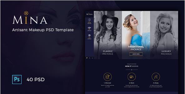 Mina - Beauty Salon Makeup PSD Template