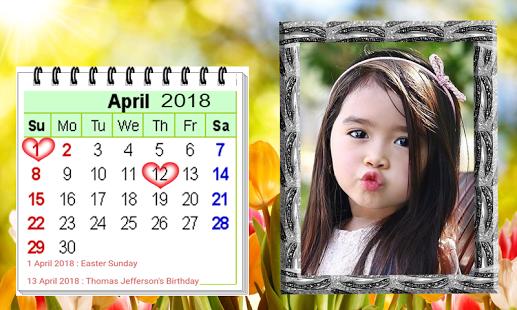 Modern Calendar 2018 Photo Frame