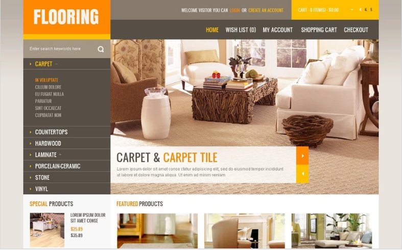 Modern Flooring OpenCart Template