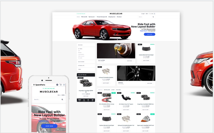 Musclecar - Car Parts Responsive OpenCart Template
